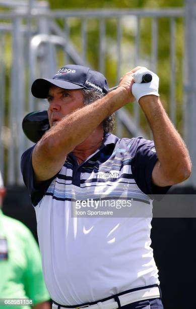 David Frost tees off hole during the second round of the Mitsubishi Electric Classic tournament at the TPC Sugarloaf Golf Club Saturday April 15 in...
