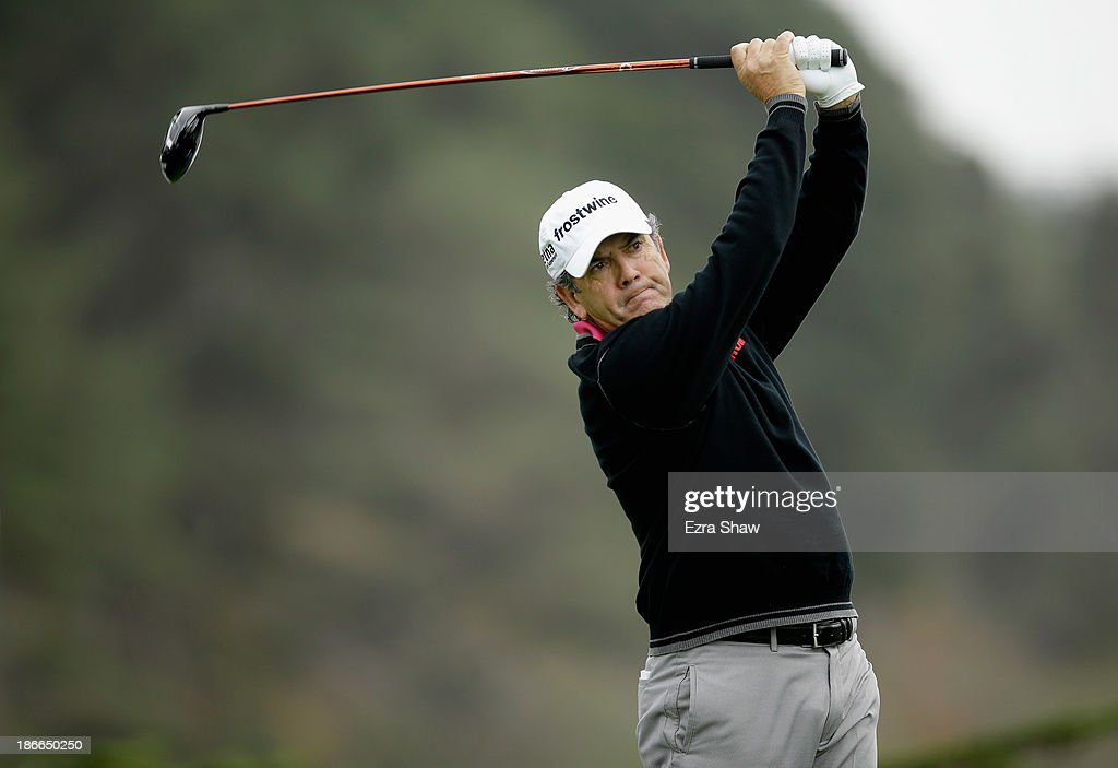 David Frost tees off on the 16th hole during Round Three of the Charles Schwab Cup Championship at TPC Harding Park on November 2, 2013 in San Francisco, California.