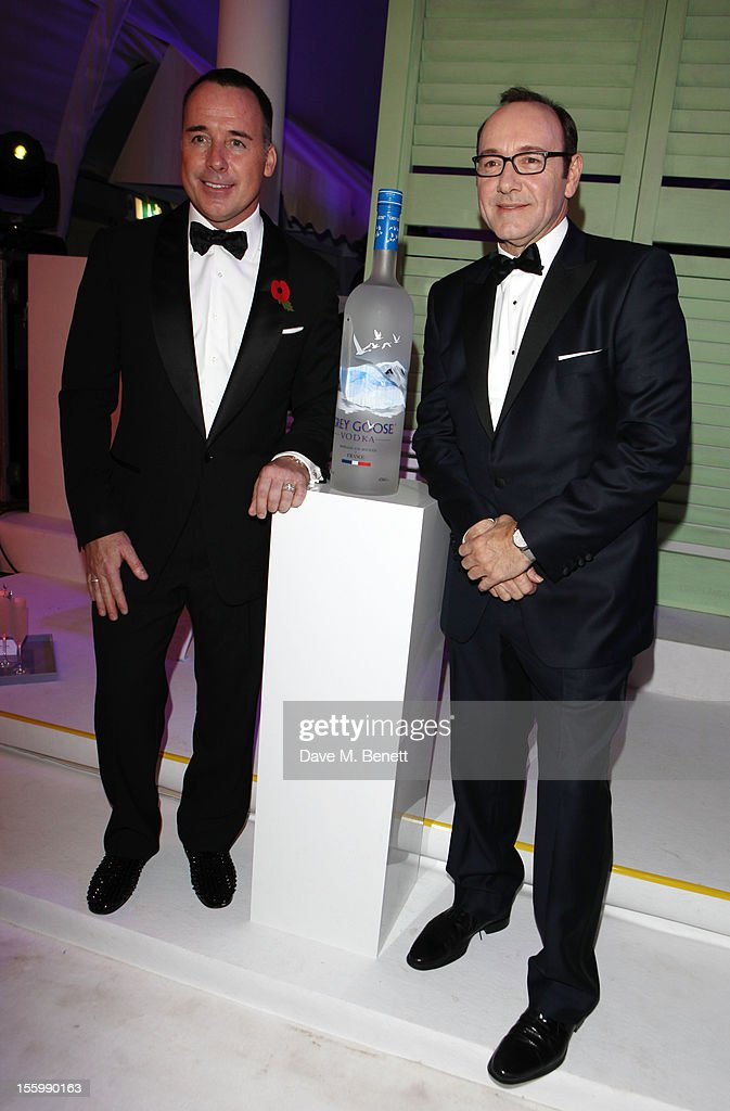 David Furnish and Actor Kevin Spacey arrive at the Grey Goose Winter Ball at Battersea Power Station on November 10, 2012 in London, England.