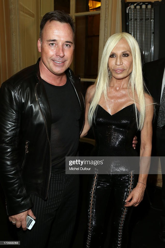 <a gi-track='captionPersonalityLinkClicked' href=/galleries/search?phrase=David+Furnish&family=editorial&specificpeople=220203 ng-click='$event.stopPropagation()'>David Furnish</a> and Donatella Versace backstage after the Versace show as part of Paris Fashion Week Haute-Couture Fall/Winter 2013-2014 at on June 30, 2013 in Paris, France.