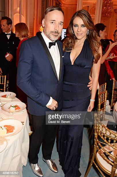 David Furnish and Elizabeth Hurley attend the Louis Dundas Centre Dinner at the Mandarin Oriental Hyde Park on November 26 2014 in London England
