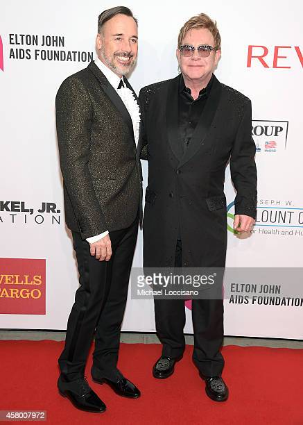 David Furnish and Elton John attend the Elton John AIDS Foundation's 13th Annual An Enduring Vision Benefit at Cipriani Wall Street on October 28...