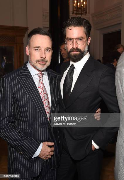 David Furnish and Jack Guinness attend the London Fashion Week Men's closing dinner hosted by GQ at The Ned on June 12 2017 in London England