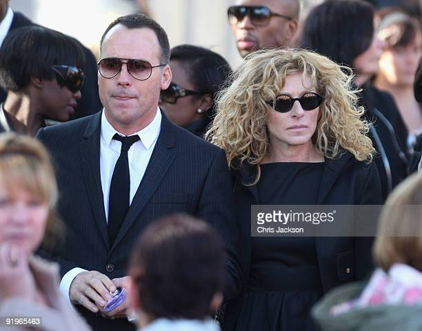 David Furnish and Kelly Hoppen attends the funeral of Boyzone singer Stephen Gately at St Laurence O'Toole Church on October 17 2009 in Dublin...