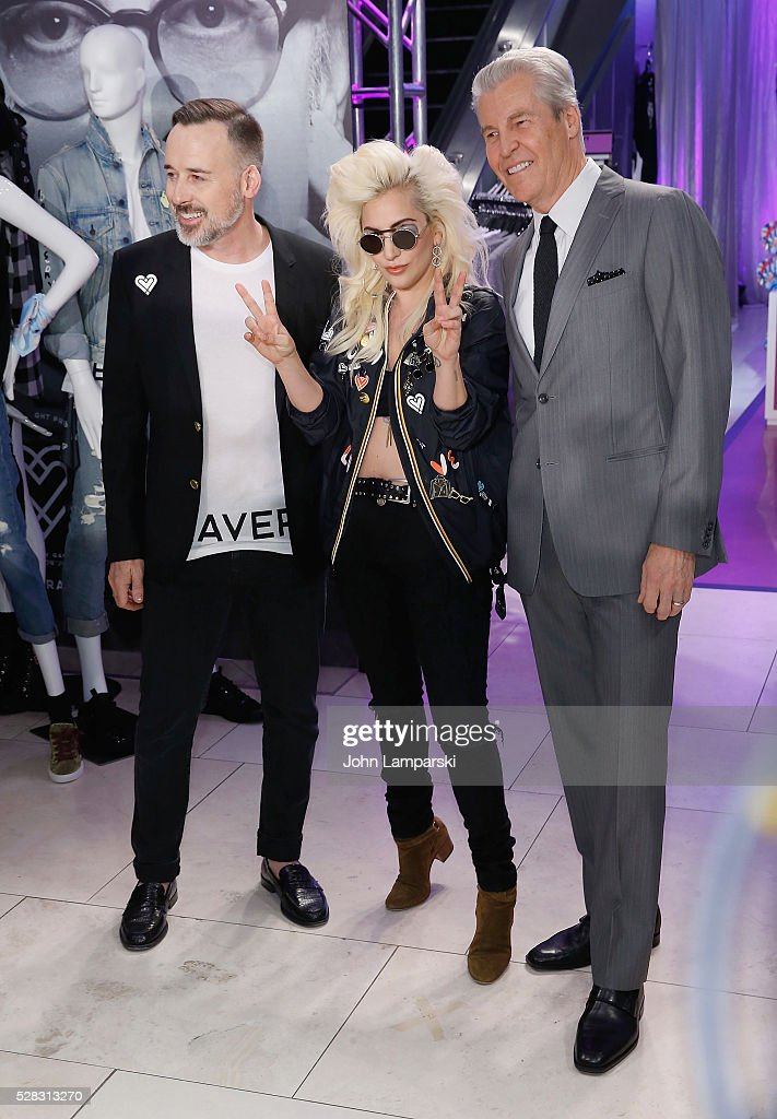 David Furnish and Lady Gaga and Macy's Chairman , Terry Lundgren launch Love Bravery Collection at Macy's Herald Square at Macy's Herald Square on May 4, 2016 in New York City.