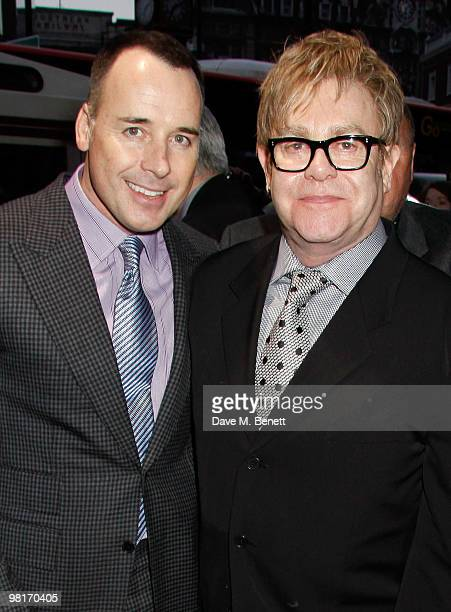 David Furnish and Sir Elton John arrive at the fifth birthday anniversary of 'Billy Elliot The Musical' at the Victoria Palace Theatre on March 31...