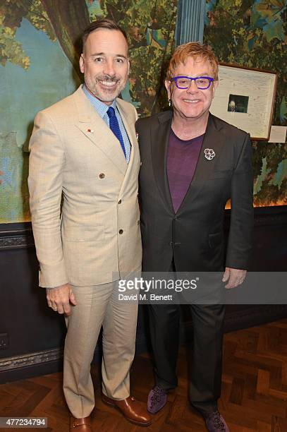 David Furnish and Sir Elton John attend the LATHBRIDGE by Patrick Cox presentation and official launch during London Collections Men SS16 at Sketch...