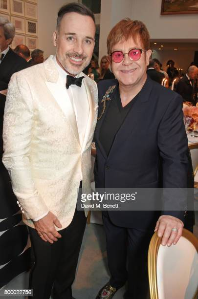 David Furnish and Sir Elton John attend the Woodside Gallery Dinner in benefit of Elton John AIDS Foundation in partnership with BVLGARI at Woodside...