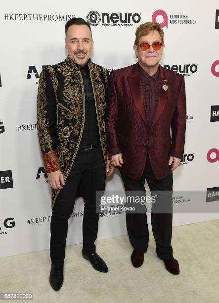 David Furnish and Sir Elton John celebrate Elton John's 70th Birthday and 50Year Songwriting Partnership with Bernie Taupin benefiting the Elton John...