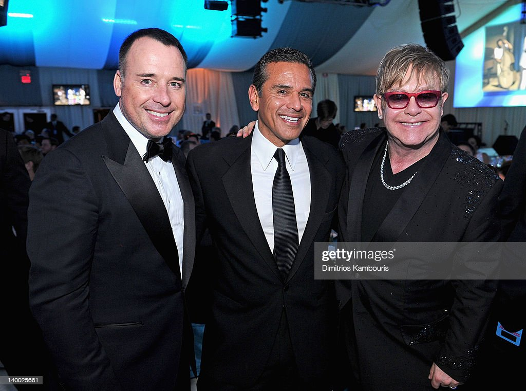 David Furnish Antonio Villaraigosa and Sir Elton John attend the 20th Annual Elton John AIDS Foundation Academy Awards Viewing Party at The City of...