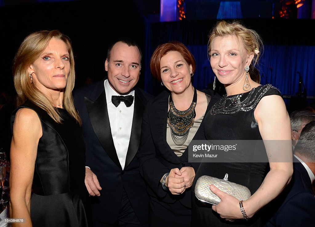 David Furnish, Christine Quinn and Courtney Love attend the Elton John AIDS Foundation's 11th Annual An Enduring Vision Benefit at Cipriani Wall Street on October 15, 2012 in New York City.