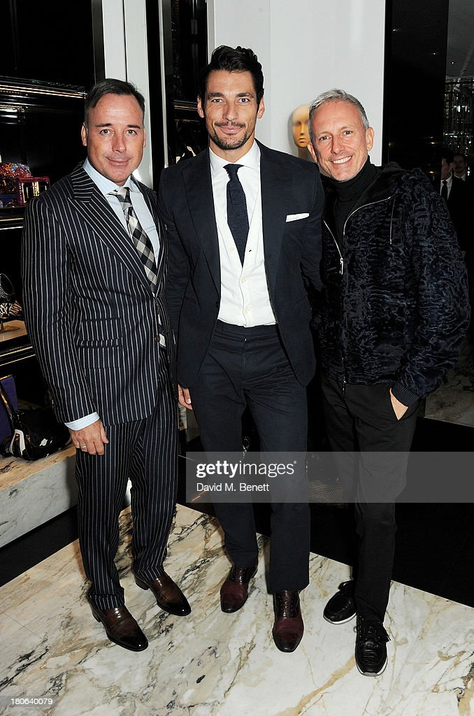 David Furnish, David Gandy and Patrick Cox attend the launch of the new Tom Ford London flagship store on Sloane Street on September 15, 2013 in London, England.