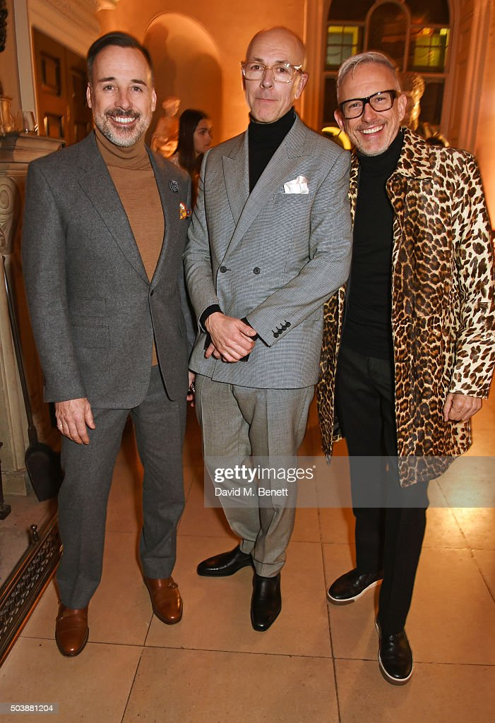 David Furnish Dylan Jones and Patrick Cox attend the London Collections Men AW16 opening party hosted by the British Fashion Council and GQ Editor...