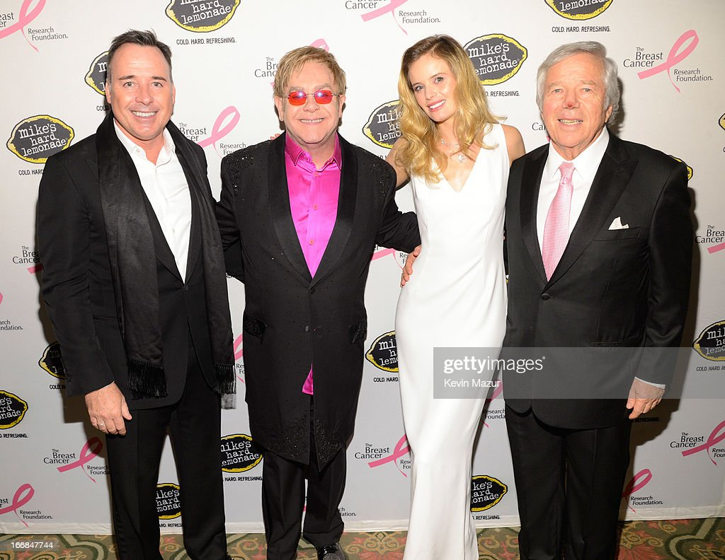 David Furnish, <a gi-track='captionPersonalityLinkClicked' href=/galleries/search?phrase=Elton+John&family=editorial&specificpeople=171369 ng-click='$event.stopPropagation()'>Elton John</a> and Robert Kraft attend the Breast Cancer Foundation's Hot Pink Party at the Waldorf Astoria Hotel on April 17, 2013 in New York City.