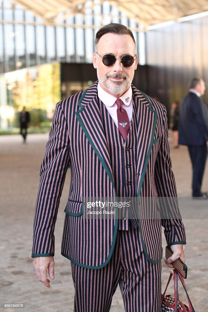 David Furnish is seen leaving the Gucci show during Milan Fashion Week Spring/Summer 2018 on September 20, 2017 in Milan, Italy.