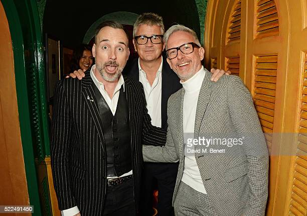 David Furnish Jay Jopling and Patrick Cox attend a dinner at Annabel's to celebrate the premiere of 'Mapplethorpe Look At The Pictures' on April 19...