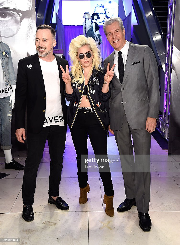 David Furnish, Lady Gaga and Macy's CEO Terry J. Lundgren attend the launch of 'Bravery' by Lady Gaga and Elton John at Macy's Herald Square on May 4, 2016 in New York City.