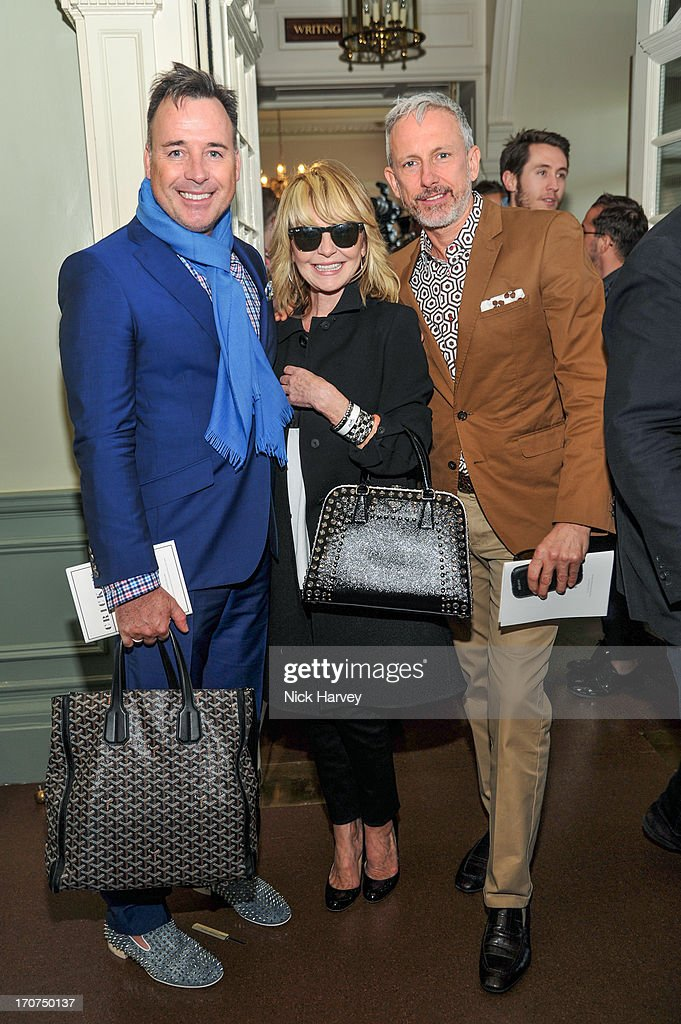 David Furnish, Lulu and Patrick Cox attends the Savile Row & St James's Presentation during the London Collections: MEN SS14 at Lord's Cricket Ground on June 17, 2013 in London, England.