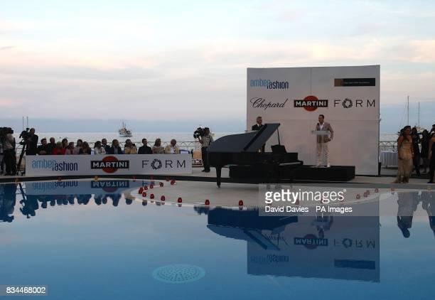 David Furnish makes a speech at the Grand Prix and Fashion Unite at The Amber Lounge Le Meridien Beach Plaza Hotel Monaco