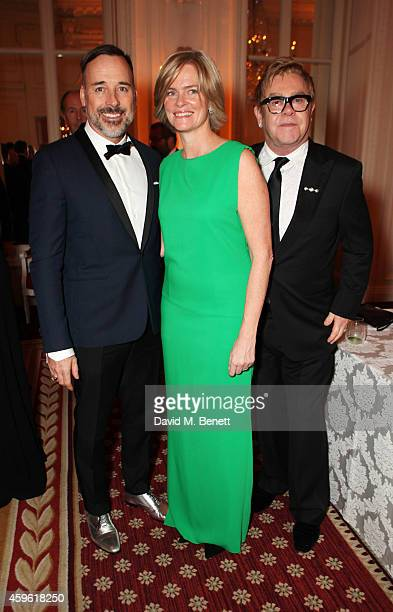 David Furnish Ruth Dundas and Sir Elton John attend the Louis Dundas Centre Dinner at the Mandarin Oriental Hyde Park on November 26 2014 in London...