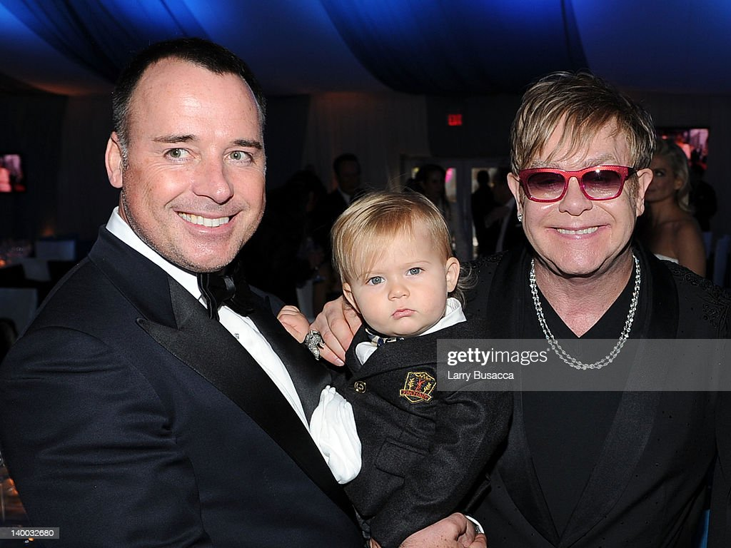 David Furnish, son Zachary and Sir Elton John attend the 20th Annual Elton John AIDS Foundation Academy Awards Viewing Party at The City of West Hollywood Park on February 26, 2012 in Beverly Hills, California.
