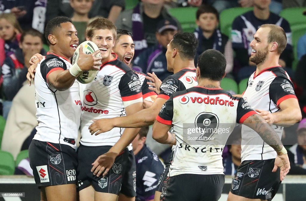 David Fusitua of the Warriors celebrates with his teammates after scoring a try during the round eight NRL match between the Melbourne Storm and the New Zealand Warriors at AAMI Park on April 25, 2017 in Melbourne, Australia.