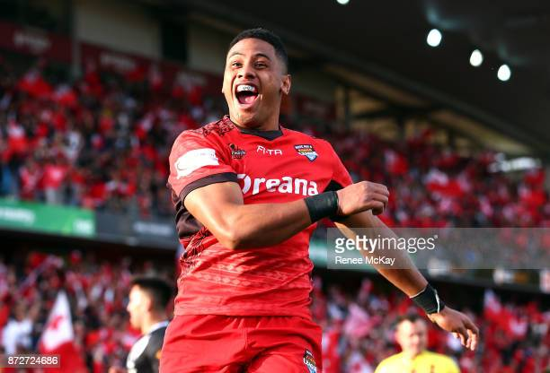 David Fusitua of Tonga celebrates his 3rd try during the 2017 Rugby League World Cup match between the New Zealand Kiwis and Tonga at Waikato Stadium...