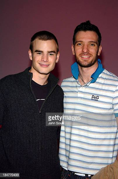 David Gallagher and JC Chasez during 2005 Volkswagen Jetta Premiere Party Inside at The Lot in West Hollywood California United States