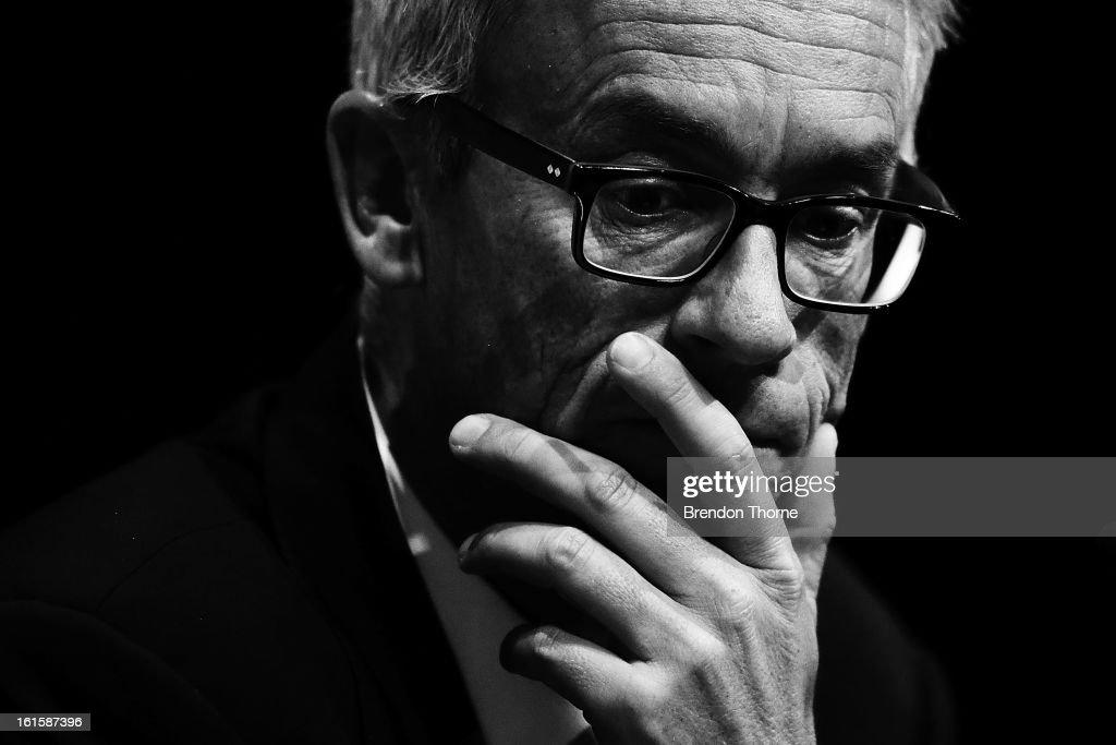 FFA CEO, <a gi-track='captionPersonalityLinkClicked' href=/galleries/search?phrase=David+Gallop&family=editorial&specificpeople=579322 ng-click='$event.stopPropagation()'>David Gallop</a> addresses football fans during the FFA Australian Football Fan Forum at The Star on February 12, 2013 in Sydney, Australia.