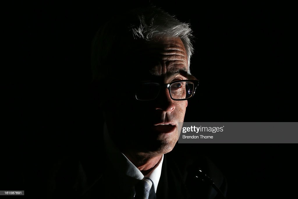 CEO, <a gi-track='captionPersonalityLinkClicked' href=/galleries/search?phrase=David+Gallop&family=editorial&specificpeople=579322 ng-click='$event.stopPropagation()'>David Gallop</a> addresses football fans during the FFA Australian Football Fan Forum at The Star on February 12, 2013 in Sydney, Australia.