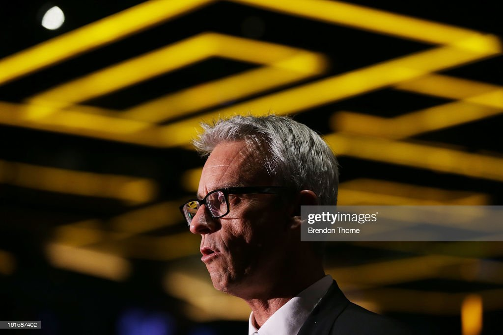 CEO, <a gi-track='captionPersonalityLinkClicked' href=/galleries/search?phrase=David+Gallop&family=editorial&specificpeople=579322 ng-click='$event.stopPropagation()'>David Gallop</a> addresses the media during the FFA Australian Football Fan Forum at The Star on February 12, 2013 in Sydney, Australia.