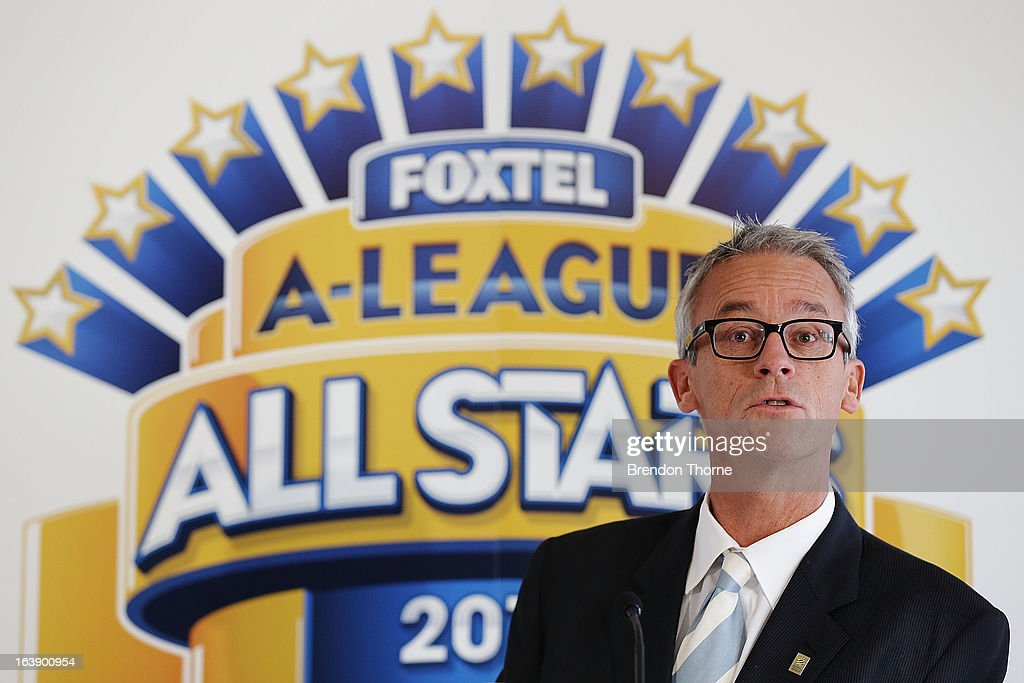 FFA CEO, <a gi-track='captionPersonalityLinkClicked' href=/galleries/search?phrase=David+Gallop&family=editorial&specificpeople=579322 ng-click='$event.stopPropagation()'>David Gallop</a> addresses the press during a FFA All-Stars announcement at Blu Horizon on March 18, 2013 in Sydney, Australia.