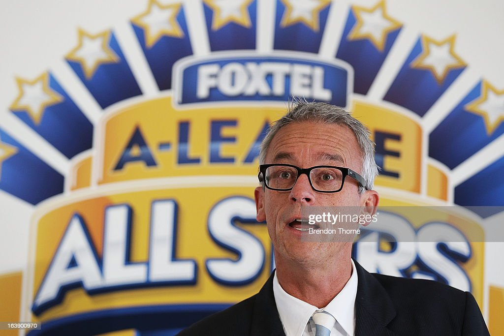 CEO, <a gi-track='captionPersonalityLinkClicked' href=/galleries/search?phrase=David+Gallop&family=editorial&specificpeople=579322 ng-click='$event.stopPropagation()'>David Gallop</a> addresses the press during a FFA All-Stars announcement at Blu Horizon on March 18, 2013 in Sydney, Australia.
