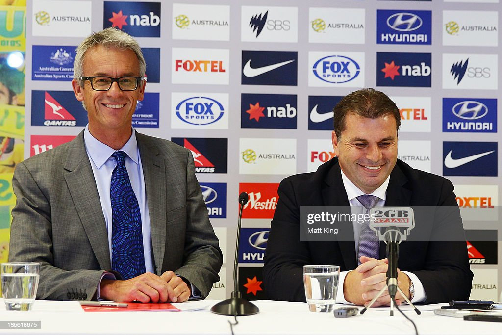 <a gi-track='captionPersonalityLinkClicked' href=/galleries/search?phrase=David+Gallop&family=editorial&specificpeople=579322 ng-click='$event.stopPropagation()'>David Gallop</a> (L) and Ange Postecoglou (R) speak to the media during a press conference at the FFA Headquarters on October 23, 2013 in Sydney, Australia. The FFA today announced Postecoglou as the Socceroos new head coach through to the 2018 World Cup.