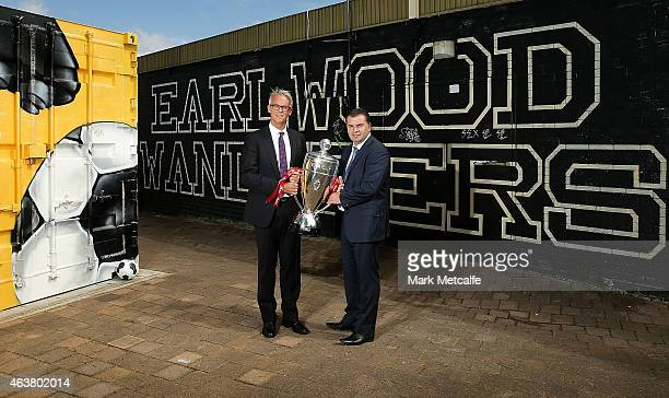 David Gallop and Socceroos coach Ange Postecoglou pose with the FFA Cup trophy during the official launch of the 2015 FFA Cup at Earlwood Wanderers...