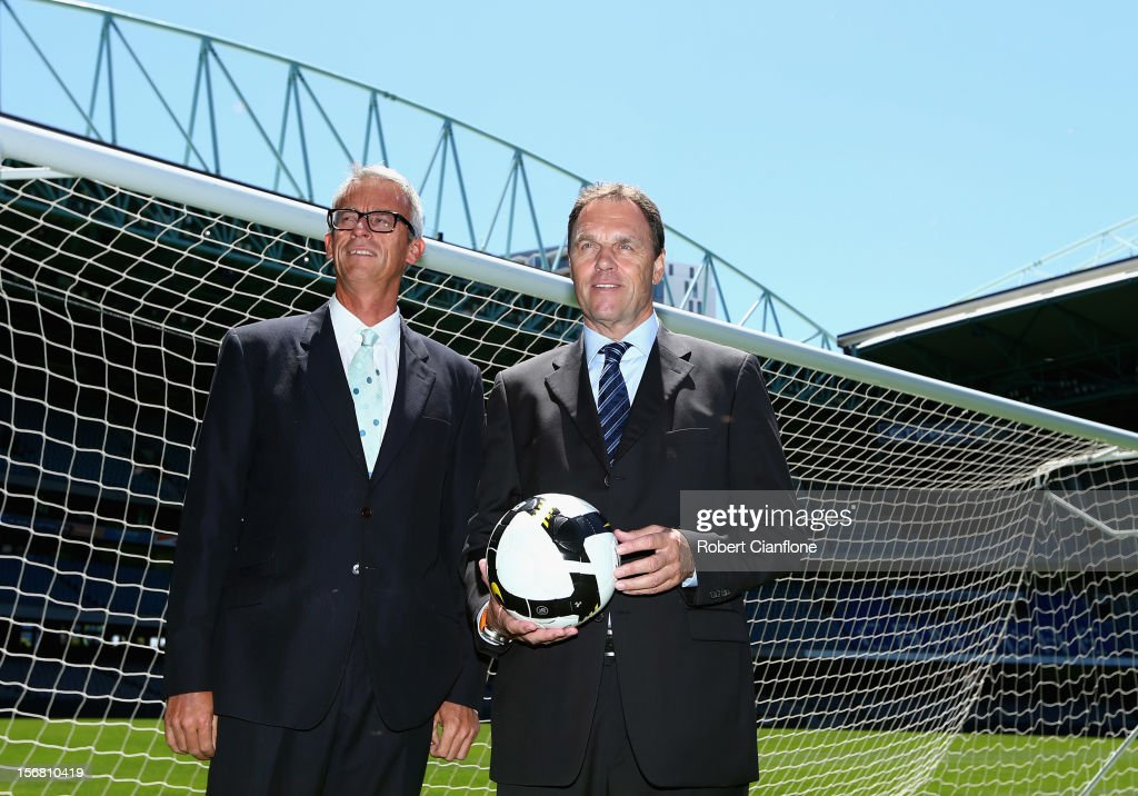 David Gallop and Socceroos head coach Holger Osieck pose for the media during a FFA Announcement at Etihad Stadium on November 22, 2012 in Melbourne, Australia.