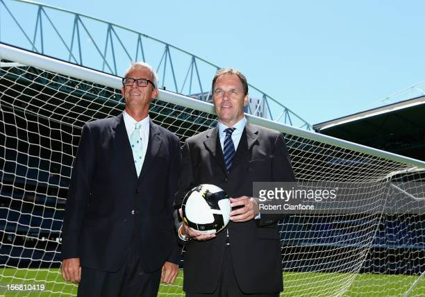 David Gallop and Socceroos head coach Holger Osieck pose for the media during a FFA Announcement at Etihad Stadium on November 22 2012 in Melbourne...