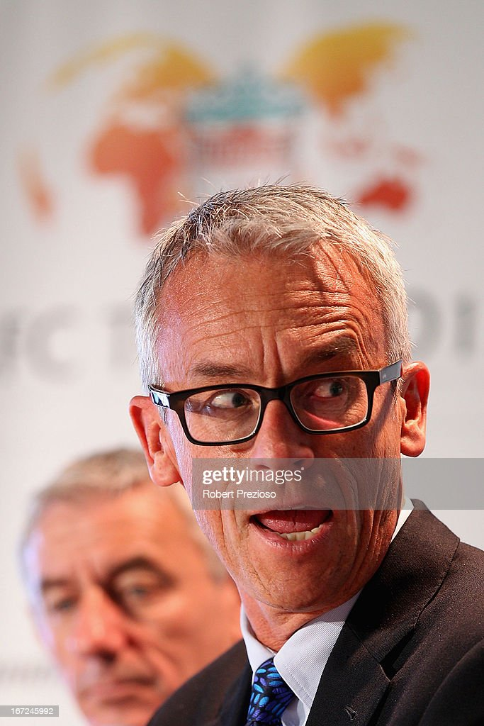 <a gi-track='captionPersonalityLinkClicked' href=/galleries/search?phrase=David+Gallop&family=editorial&specificpeople=579322 ng-click='$event.stopPropagation()'>David Gallop</a> CEO Football Federation Australia speaks to the media during a press conference at Melbourne Cricket Ground on April 23, 2013 in Melbourne, Australia. Liverpool FC will play Melbourne Victory in a friendly at the MCG on July 24th.