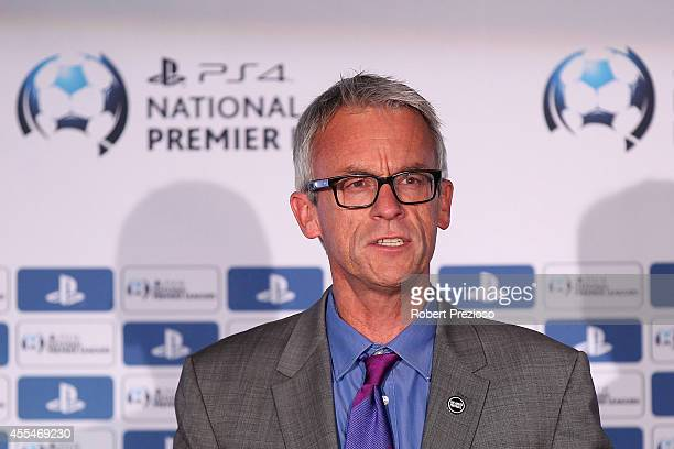 David Gallop FFA Chief Executive Officer speaks during the NPL Finals Series Partnership Launch at AAMI Park on September 15 2014 in Melbourne...