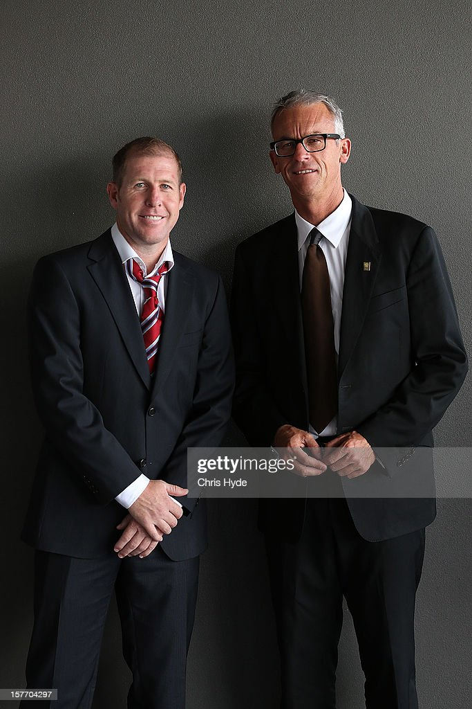David Gallop poses with Scott Chipperfield during the 2012 Football Federation Australia Hall of Fame induction ceremony at Gambaro Restaurant and Function Centre on December 6, 2012 in Brisbane, Australia.