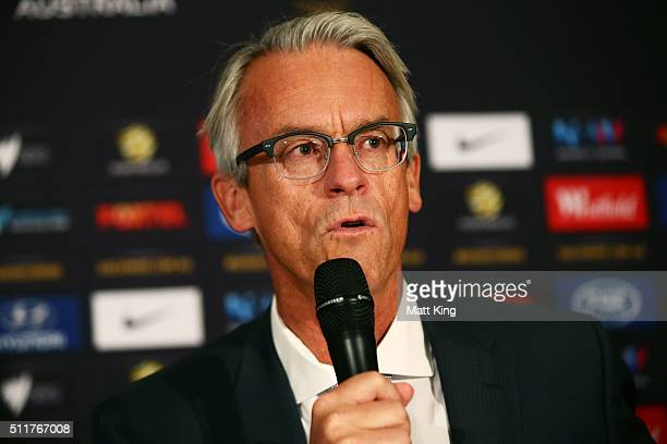 David Gallop speaks during an Australian Socceroos press conference at Alpha Restaurant on February 23 2016 in Sydney Australia