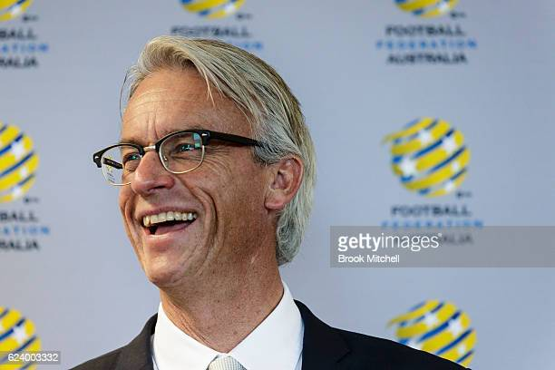David Gallop speaks during the 2016 Football Federation Australia Hall of Fame Induction Ceremony at the FFA Offices on November 18 2016 in Sydney...