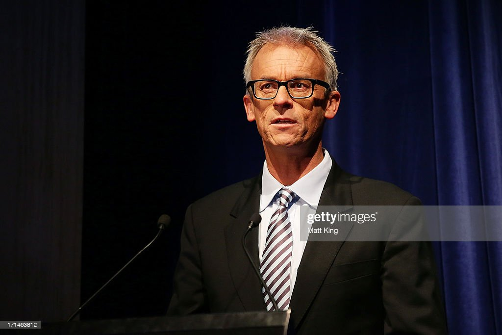 David Gallop speaks during the A-League All Stars jersey launch at Carriageworks on June 25, 2013 in Sydney, Australia.