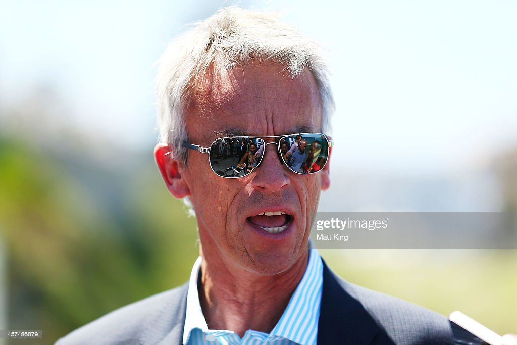<a gi-track='captionPersonalityLinkClicked' href=/galleries/search?phrase=David+Gallop&family=editorial&specificpeople=579322 ng-click='$event.stopPropagation()'>David Gallop</a> speaks during the launch of the A-League's Summer of Football at Bondi Icebergs on December 18, 2013 in Sydney, Australia.