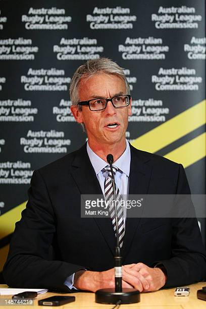 David Gallop speaks to the media at the announcement of his resignation as ARLC CEO at Rugby League Central on June 5 2012 in Sydney Australia