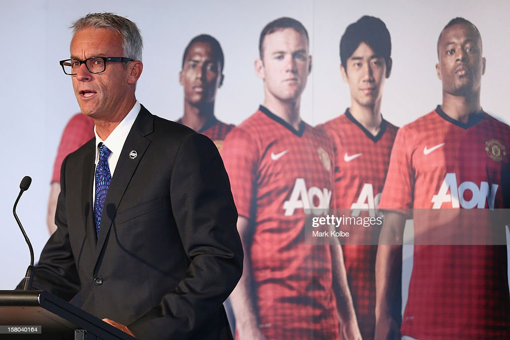 <a gi-track='captionPersonalityLinkClicked' href=/galleries/search?phrase=David+Gallop&family=editorial&specificpeople=579322 ng-click='$event.stopPropagation()'>David Gallop</a> speaks to the media during a press conference at Museum of Contemporary Art on December 10, 2012 in Sydney, Australia. Manchester United will play an A-League All-Stars match in Sydney on July 20, 2013.