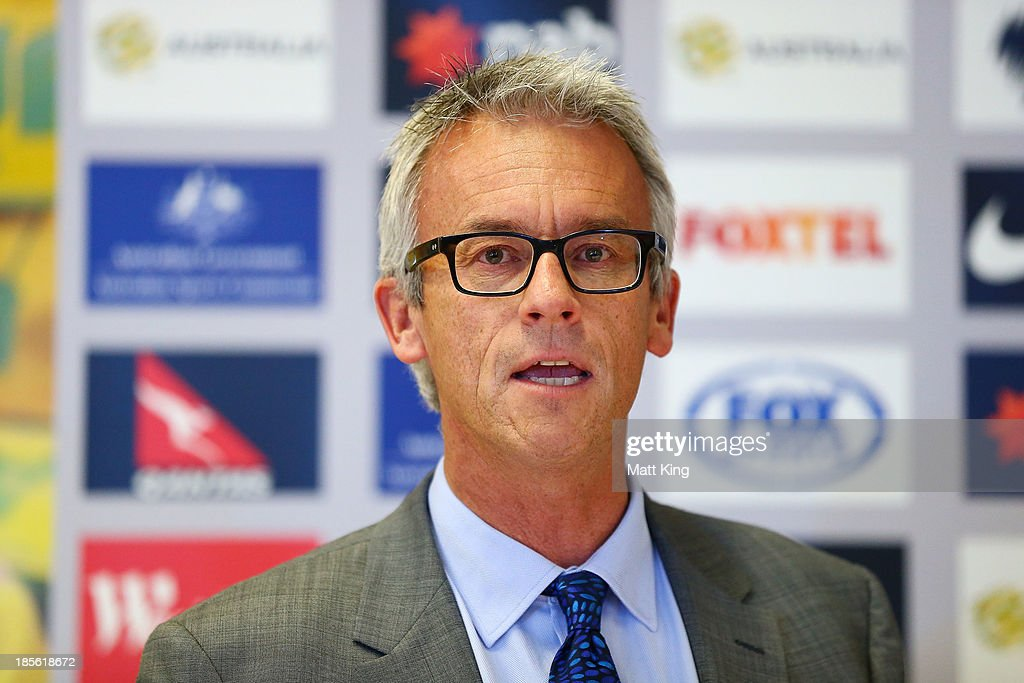 <a gi-track='captionPersonalityLinkClicked' href=/galleries/search?phrase=David+Gallop&family=editorial&specificpeople=579322 ng-click='$event.stopPropagation()'>David Gallop</a> speaks to the media during a press conference at the FFA Headquarters on October 23, 2013 in Sydney, Australia. The FFA today announced Postecoglou as the Socceroos new head coach through to the 2018 World Cup.
