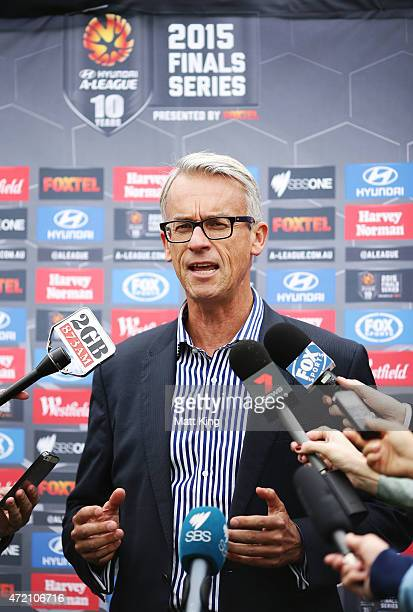 David Gallop speaks to the media during a Sydney FC ALeague Semi Final media opportunity at Allianz Stadium on May 4 2015 in Sydney Australia
