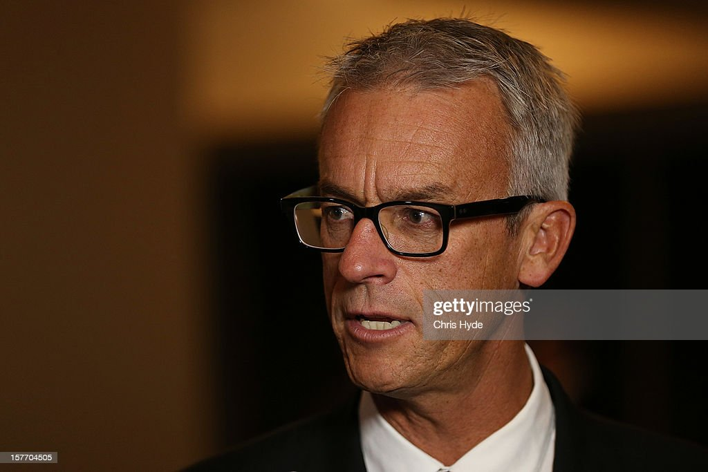 <a gi-track='captionPersonalityLinkClicked' href=/galleries/search?phrase=David+Gallop&family=editorial&specificpeople=579322 ng-click='$event.stopPropagation()'>David Gallop</a> talks during the 2012 Football Federation Australia Hall of Fame induction ceremony at Gambaro Restaurant and Function Centre on December 6, 2012 in Brisbane, Australia.