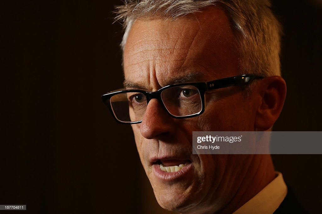 David Gallop talks during the 2012 Football Federation Australia Hall of Fame induction ceremony at Gambaro Restaurant and Function Centre on December 6, 2012 in Brisbane, Australia.